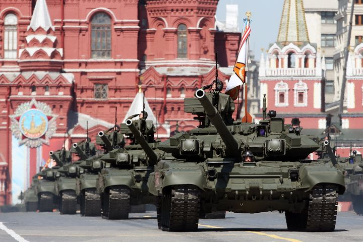 Russian T-90A tanks roll through Moscow's Red Square during a Victory Day parade in May, marking the 1945 defeat of Nazi