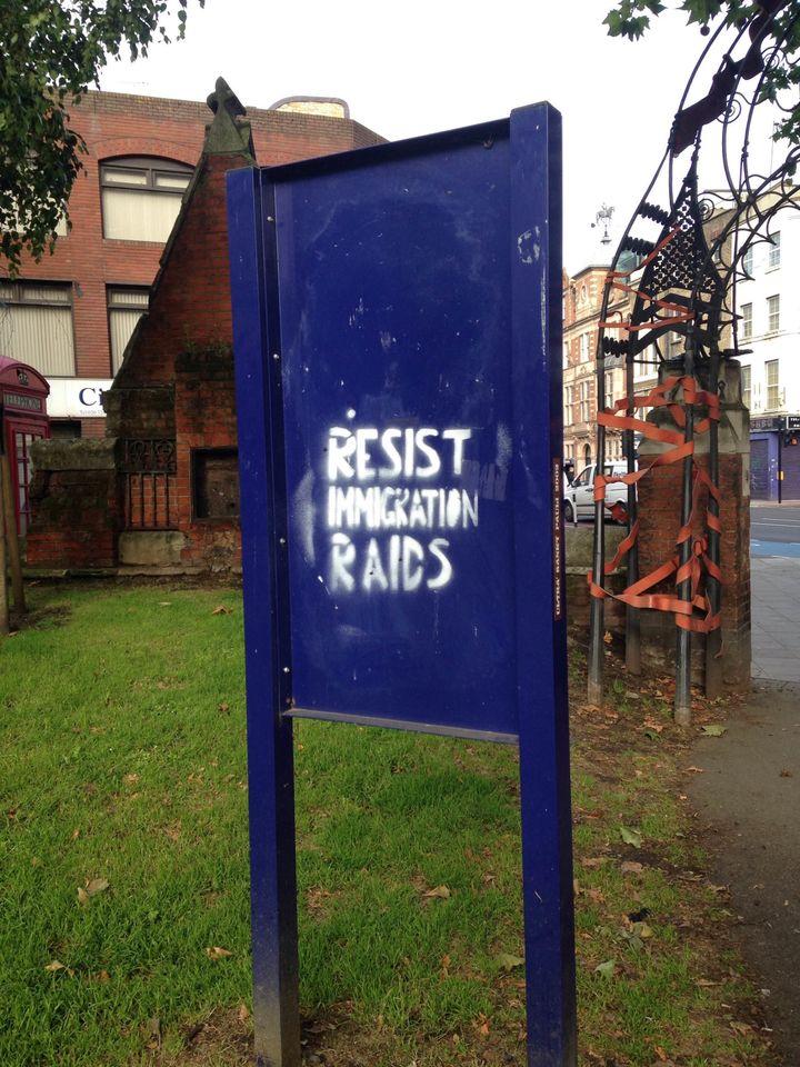A sign seen in the Whitechapel neighborhood of London.