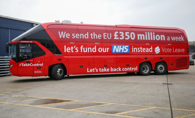 A 'leave' campaign bus emblazoned with a slogan that later proved tricky to