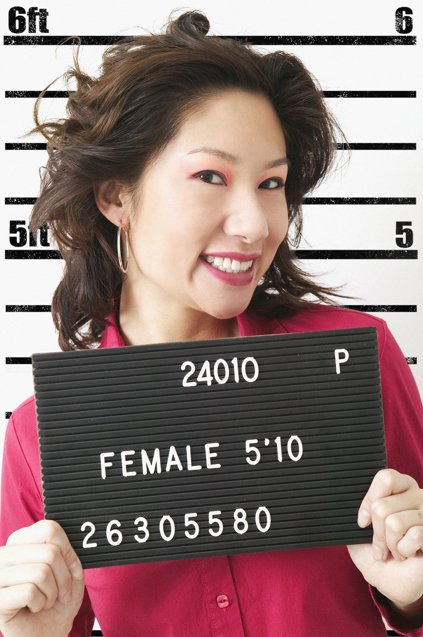 Mugshot of Chinese woman.