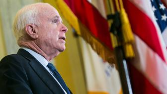 UNITED STATES - APRIL 26 - Senate Armed Services Chairman John McCain, R-Ariz., speaks during a news conference in support of fighter safety research, on Capitol Hill in Washington, Tuesday, April 26, 2016. (Photo By Al Drago/CQ Roll Call)