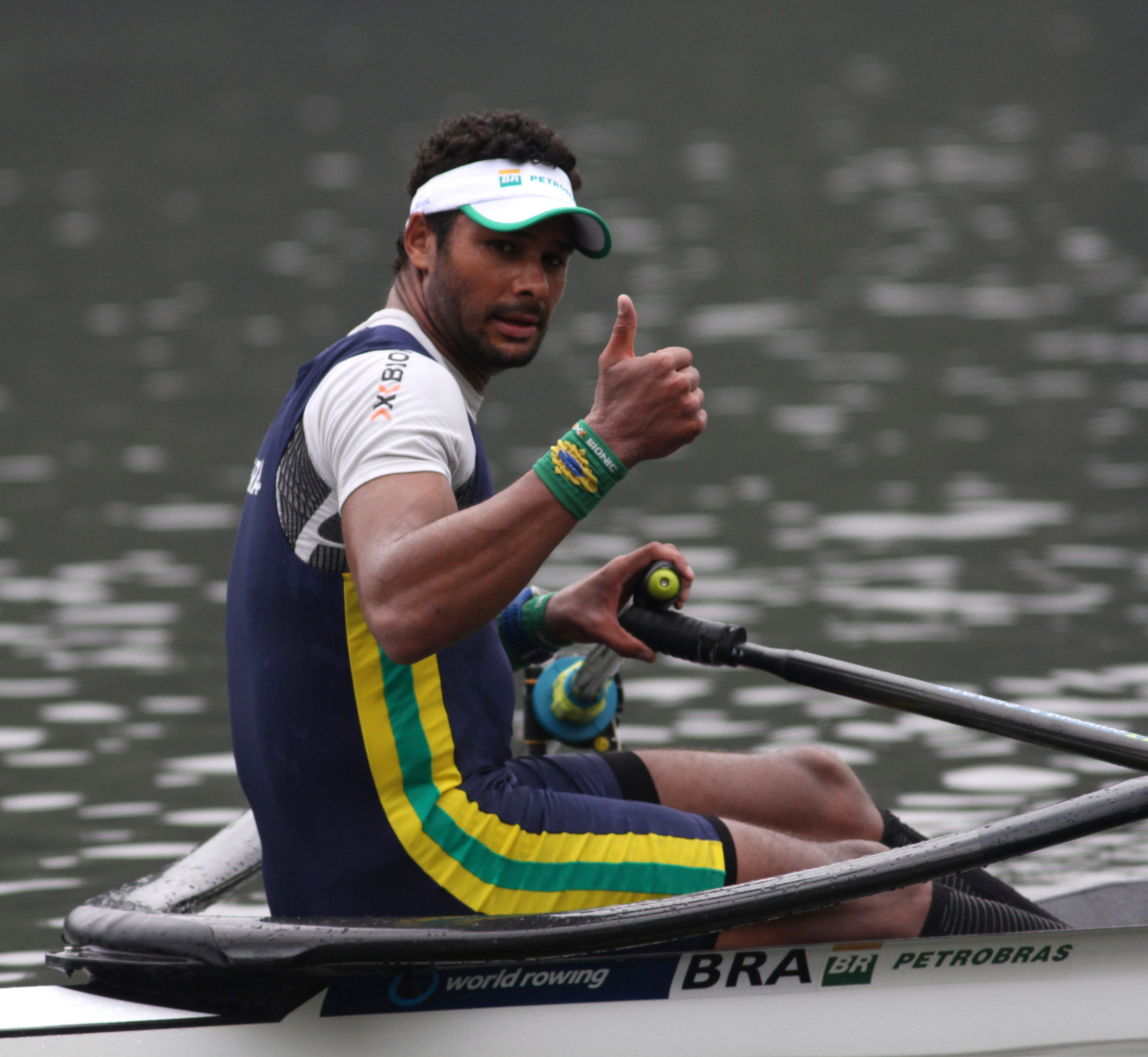 CURAUMA, CHILE - MARCH 24: Steve Hiestand of Brazil gestures after the final race the men's single rowing during the final day of Latin America Olimpyc Qualification Regata for the Rio 2016 Olympic Games at Lake Curauma on March 24, 2016 in Curauma,Chile (Photo by Marcelo Benitez/Latincontent/Getty Images)