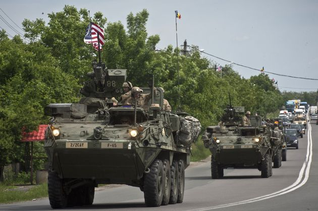 Light-armored Strykers from the U.S. 2nd Cavalry Regiment joined with NATO allies for a training...