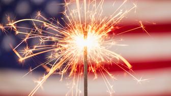 Sparkler and American flag