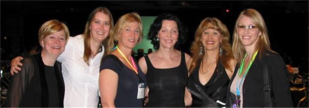 Joanne Herman, Sarah, Donna Rose, Calpernia Addams, Amanda Simpson, and Andrea James after Andrea and...