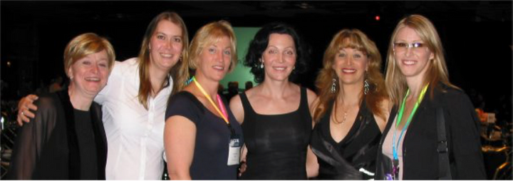 Joanne Herman, Sarah, Donna Rose, Calpernia Addams, Amanda Simpson, and Andrea James after Andrea and Calpernia presented at