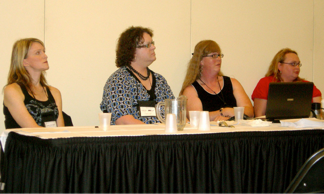 Andrea James, Joelle Ruby Ryan, Katrina Rose andÉlise Hendrick, discussing academic...