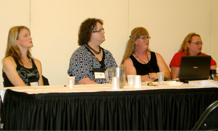 "Andrea James, Joelle Ruby Ryan, Katrina Rose and Élise Hendrick , discussing <a href=""http://ai.eecs.umich.e"