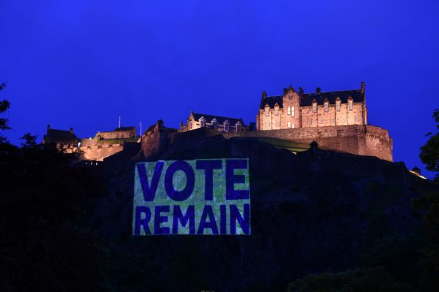 A pro-'remain' banner is pictured in Edinburgh. A majority of voters in Scotland and Northern Ireland...