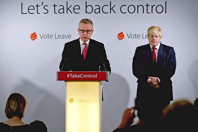 Michael Gove and Boris Johnson speak at Vote Leave headquarters after the vote. Gove upended Johnson's...