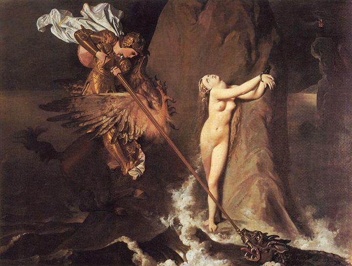 "Jean Auguste Dominique Ingres, ""Roger Delivering Angelica,"" 1819"