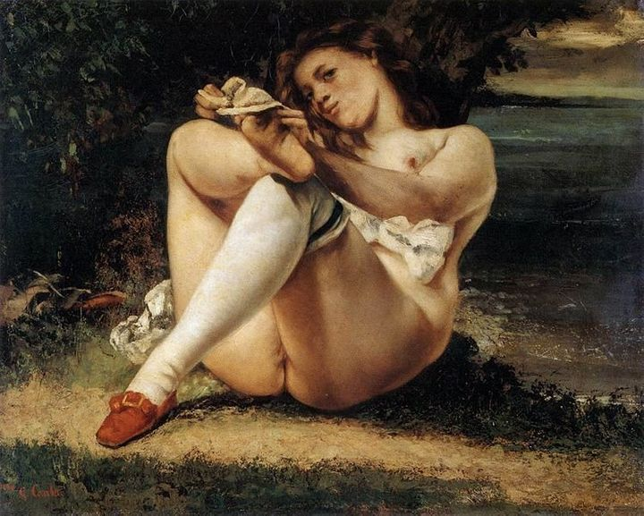 """Gustave Courbet, """"Woman with White Stockings,"""" 1846"""