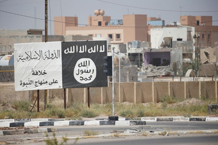 Flag of the Islamic State militants is seen in Fallujah, Iraq, on June 25, 2016.