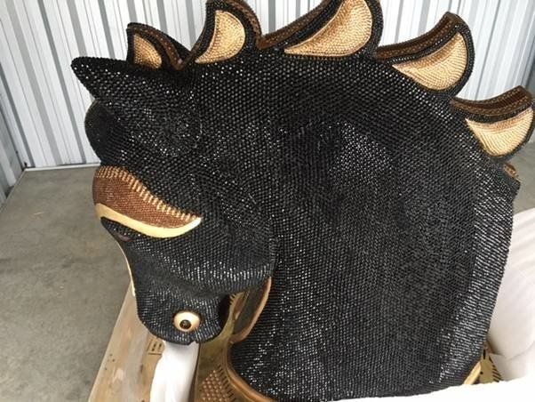 Police and customs officials in New Zealand found $10 million worth of cocaine stashed inside this diamante-encrusted sculpture of a horse's head.