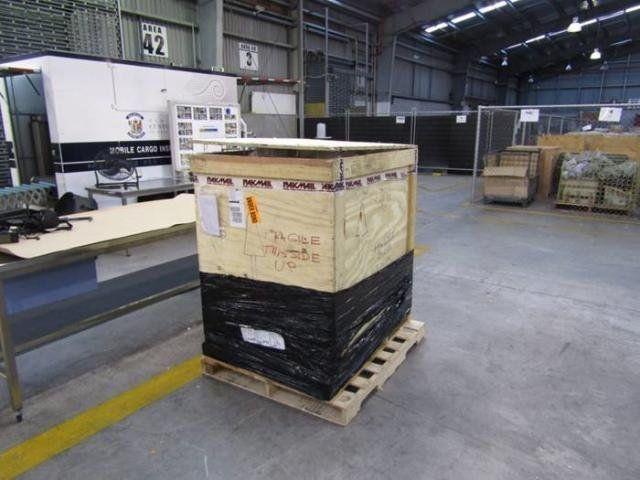 The statue weighed around 880-pounds and arrived in New Zealand, inside this crate, in early May.