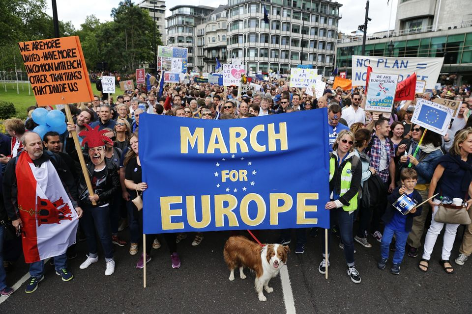 March For Europe Demonstration Sees Thousands March Through