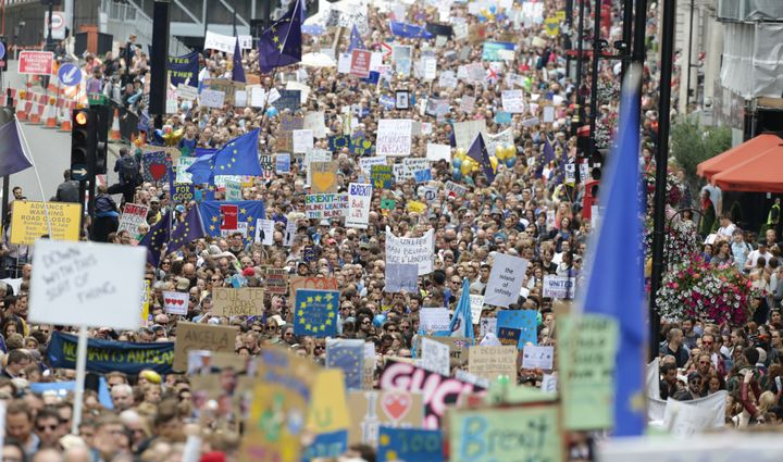"Many protesters chanted, ""What do we want to do? Stay in the EU,"" during Saturday's demonstration in central London"