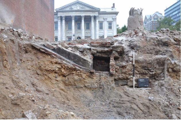 Excavation work is seen underway ahead of the construction of the Museum of the American Revolution....