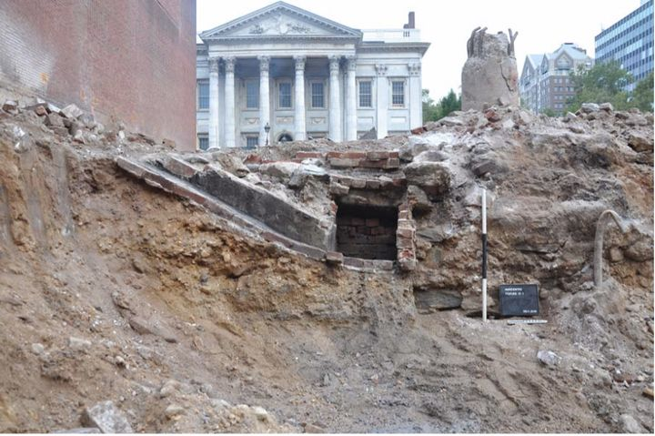 Excavation work is seen underway ahead of the construction of the Museum of the American Revolution. The First Bank is seen o
