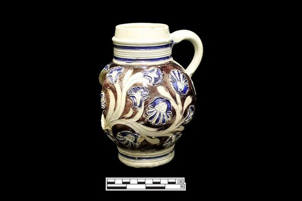 This finely detailed German tankard is in remarkably good condition, despite being buried for centuries.