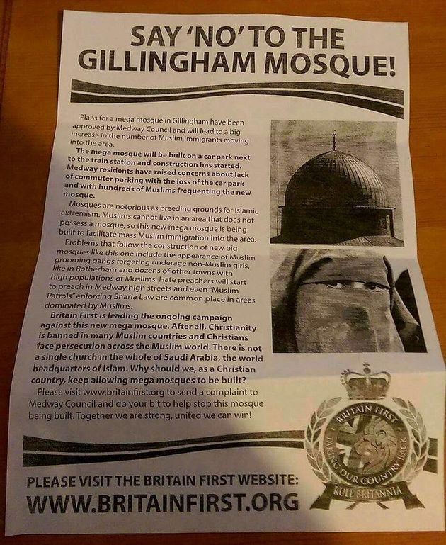 The leaflet handed out by Britain First in Gillingham on
