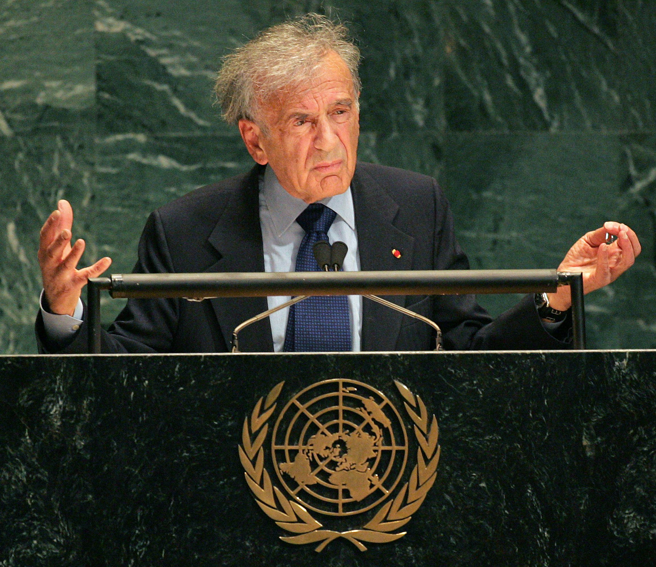 Nobel Prize winner and Holocaust survivor Elie Wiesel speaks at a special session of the United Nations General Assembly in N