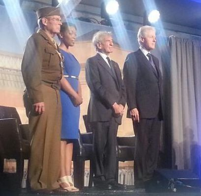 (l to r) World War II veteran and liberator Scottie Ooten, Community Partnerships Coordinator Rebecca Dupas, Elie Wiesel, and