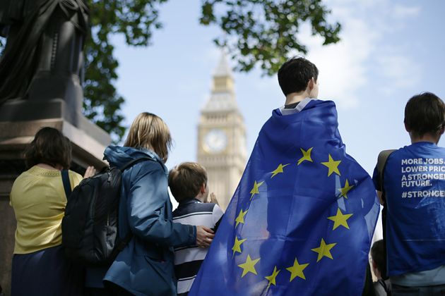 Remain supporters gather in Parliament Square, London, to take part in the March for Europe rally to...