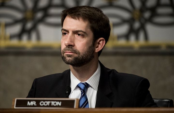 Sen. Tom Cotton had a lot to say about Hillary Clinton, but not so much to offer on Donald Trump.