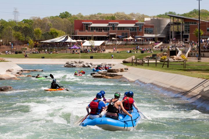 Water samples taken at North Carolina's U.S. National Whitewater Center, pictured, tested positive for Naegleria fowleri,health officials said this week.