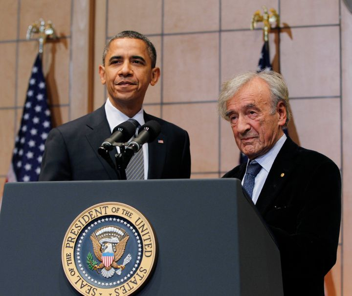 Obama and Wiesel at the United States Holocaust Museum in Washington, D.C., on April 23, 2012.