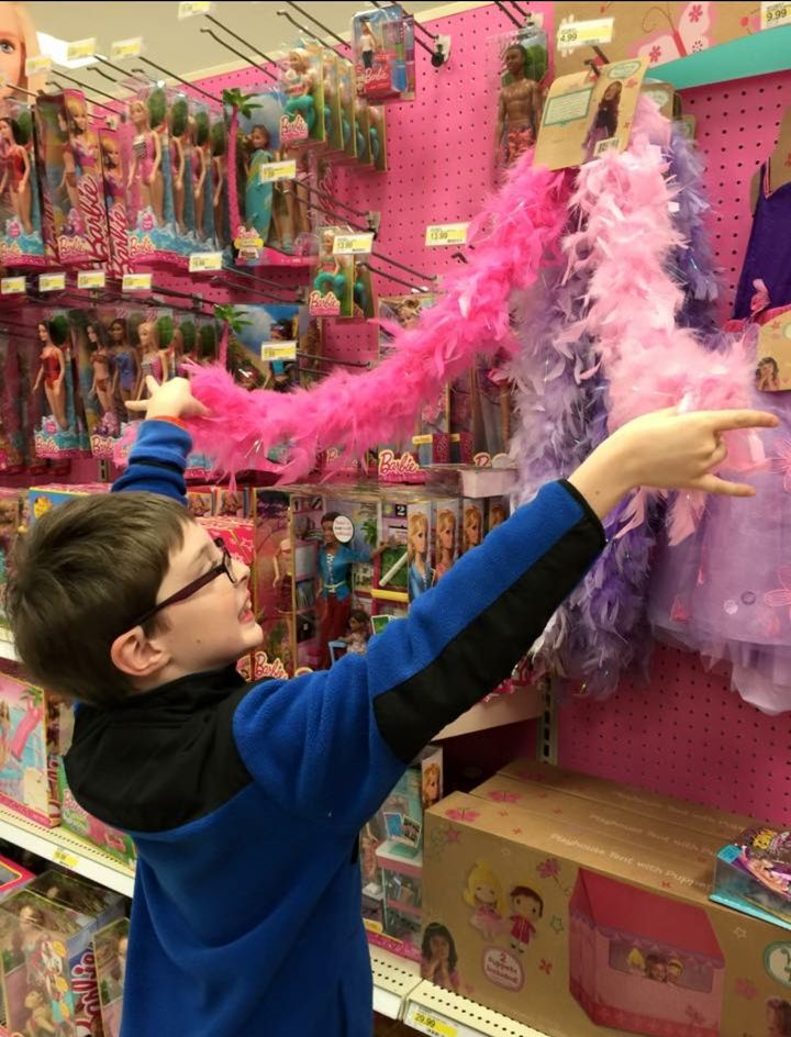 My son on his favorite toy aisle.