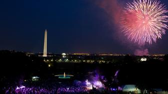WASHINGTON, DC - JULY 4:  In this handout image provided by the White House, A crowd watches from the South Lawn of the White House as fireworks erupt over the National Mall on July 4, 2012 in Washington, DC. (Photo by Pete Souza/White House Photo via Getty Images)