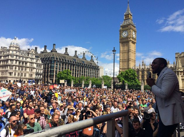 David Lammy addresses anti-Breixt supporters at the 'March for Europe' in London on
