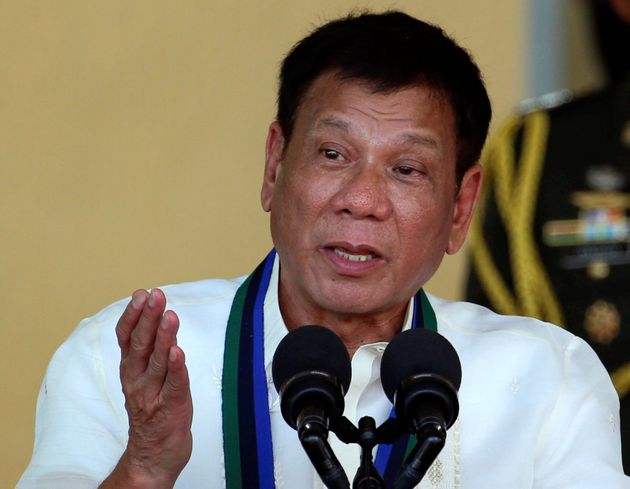 Philippines President Rodrigo Duterte speaks in front of soldiers at main military Camp Aguinaldo in...