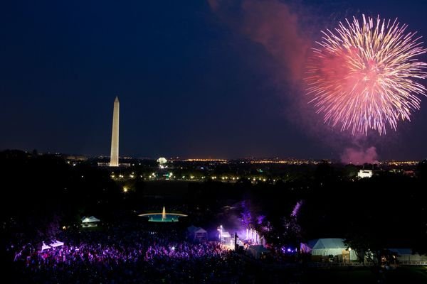 A crowd watches from the South Lawn of the White House as fireworks erupt over the National Mall on July 4, 2012.