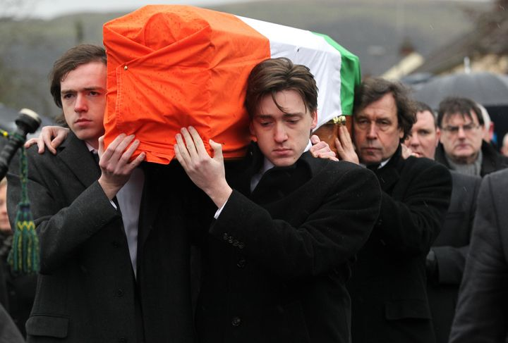 The sons of former IRA militant Dolours Price, whose oral history was subpoenaed by Ortiz, carry her coffin in January 2013.