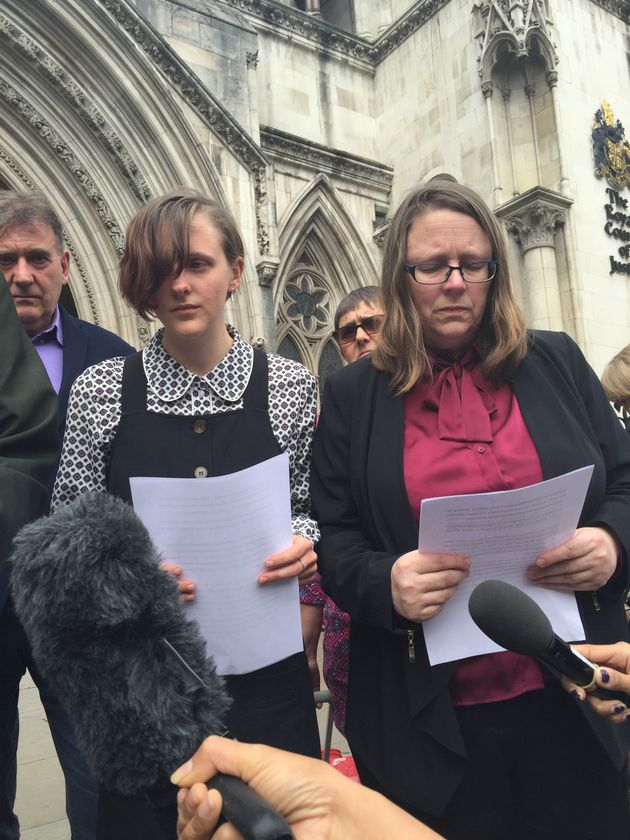 Ros Hodgkiss, Alice Gross's mother, and Alice's sister, Nina Gross, speak outside the Royal Courts of...