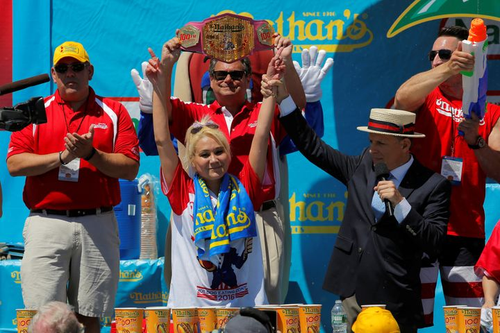 Miki Sudo of Las Vegas is crowned the winner of the women's division of the Nathan's Famous Fourth of July Internat