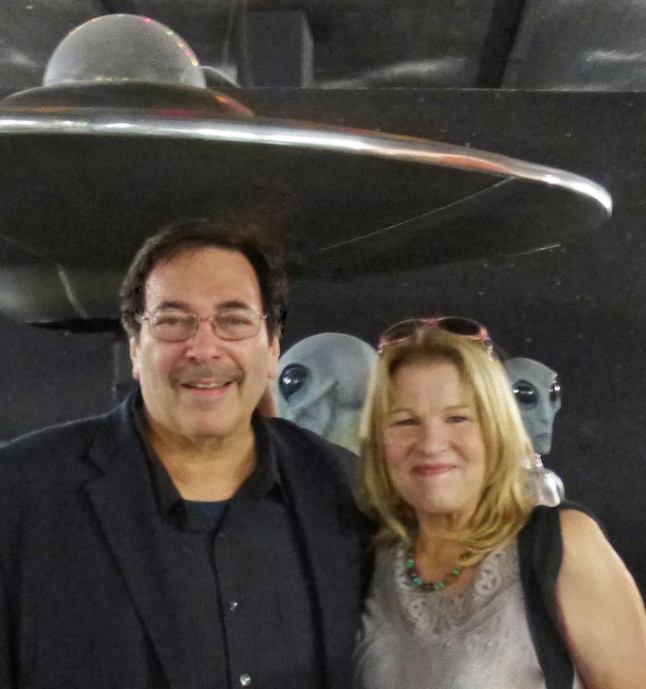 Huffington Post reporter Lee Speigel with Roswell Daily Record publisher Barbara Beck at the International UFO Museum and Res
