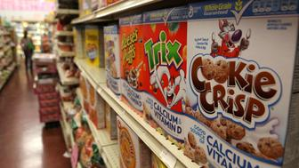 BERKELEY, CA - SEPTEMBER 23:  Boxes of cereal made by General Mills sit on the shelf at a grocery store September 23, 2009 in Berkeley, California. General Mills Inc. reported a 51 percent jump in first quarter profits with earnings of $420.6 million, or $1.25 per share compared to $278.5 million, or 79 cents per share one year ago.  (Photo by Justin Sullivan/Getty Images)