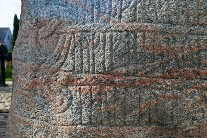 A runestone ordered built by King Harald Bluetooth. New evidence shows a fire at one of his castles may have been an act