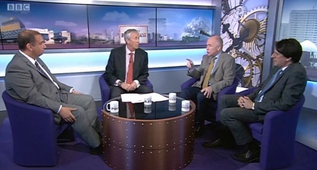 Ukip's Bill Etheridge (far left) was slammed by Labour's Jack Dromey (second from right) for the...