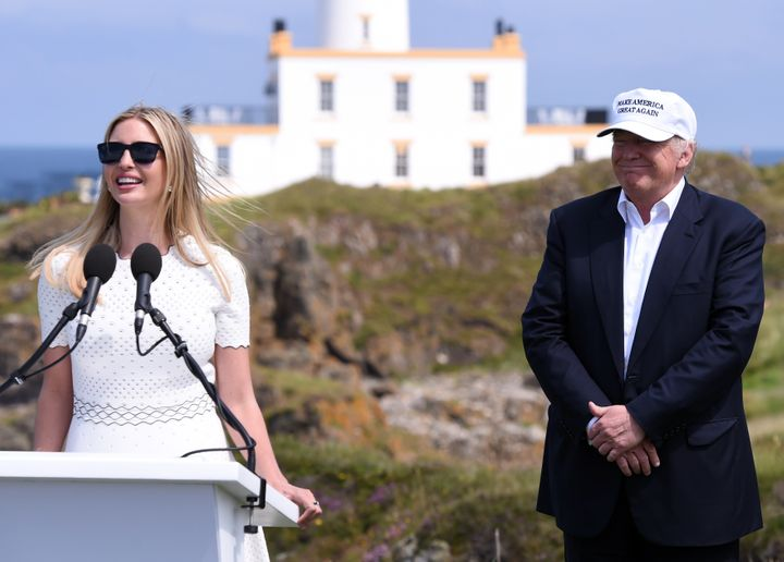 Ivanka Trump, the daughter of presumptive Republican presidential candidate Donald Trump, speaks at the opening of his Turnberry golf course, in Turnberry, Scotland, Britain June 24.