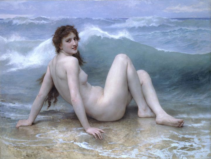 """Bouguereau was desperately trying to paint a wave, but Lydia was not having it. (William-Adolphe Bouguereau, """"The Wave,""""&nbsp"""