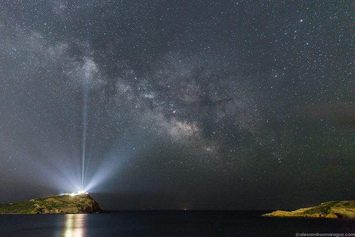 A photo of the Milky Way over Sounio in Greece.