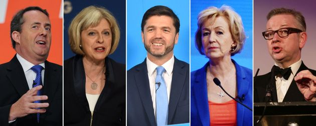 The initial five candidates for the Tory leadership, from left: Liam Fox, Theresa May, Stephen Crabb,...