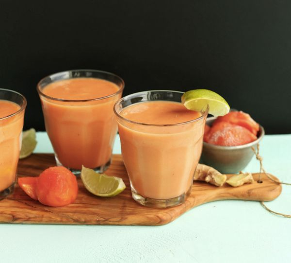 """<strong>Get the <a href=""""http://minimalistbaker.com/coconut-papaya-smoothie/"""" target=""""_blank"""">Coconut Papaya Smoothie recipe"""