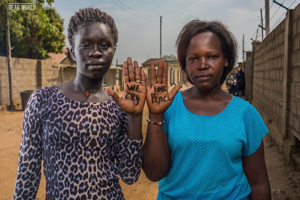 "<strong>Nunu Gloria Yona, Juba</strong><br><i>""We cry for peace""</i><br><br>Nunu has been separated from her family. She does"