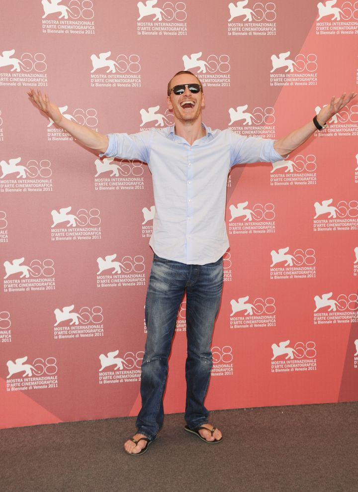 "Michael Fassbender wore flip-flops at a 2011 photocall for ""A Dangerous Method"" in Venice."